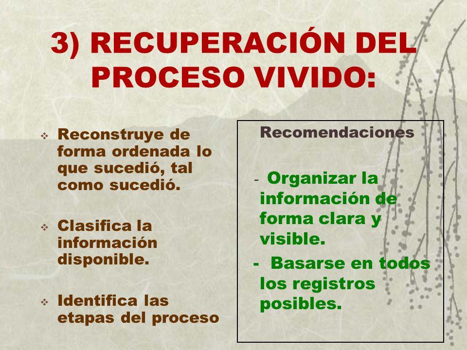 3) RECUPERACIÓN DEL PROCESO VIVIDO: Reconstruye de forma ordenada lo que sucedió, tal como sucedió. Clasifica la información disponible. Identifica la