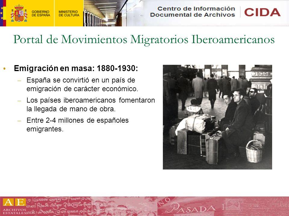 Portal de Movimientos Migratorios Iberoamericanos Emigración en masa: 1880-1930: – España se convirtió en un país de emigración de carácter económico.
