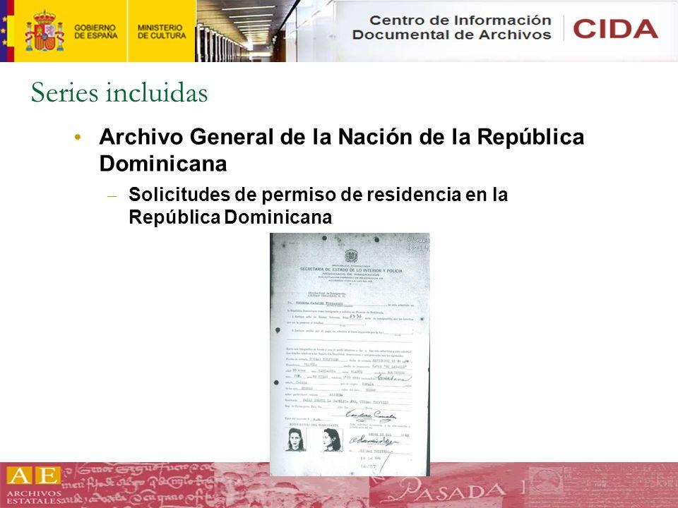 Series incluidas Archivo General de la Nación de la República Dominicana – Solicitudes de permiso de residencia en la República Dominicana
