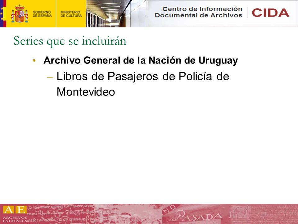Series que se incluirán Archivo General de la Nación de Uruguay – Libros de Pasajeros de Policía de Montevideo