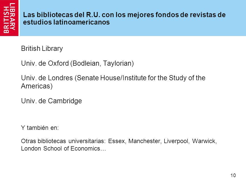10 Las bibliotecas del R.U.