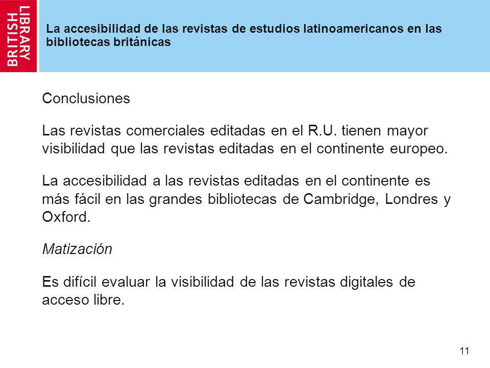11 La accesibilidad de las revistas de estudios latinoamericanos en las bibliotecas británicas Conclusiones Las revistas comerciales editadas en el R.U.