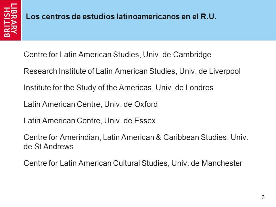 4 Revistas de estudios latinoamericanos editadas en el R.U.