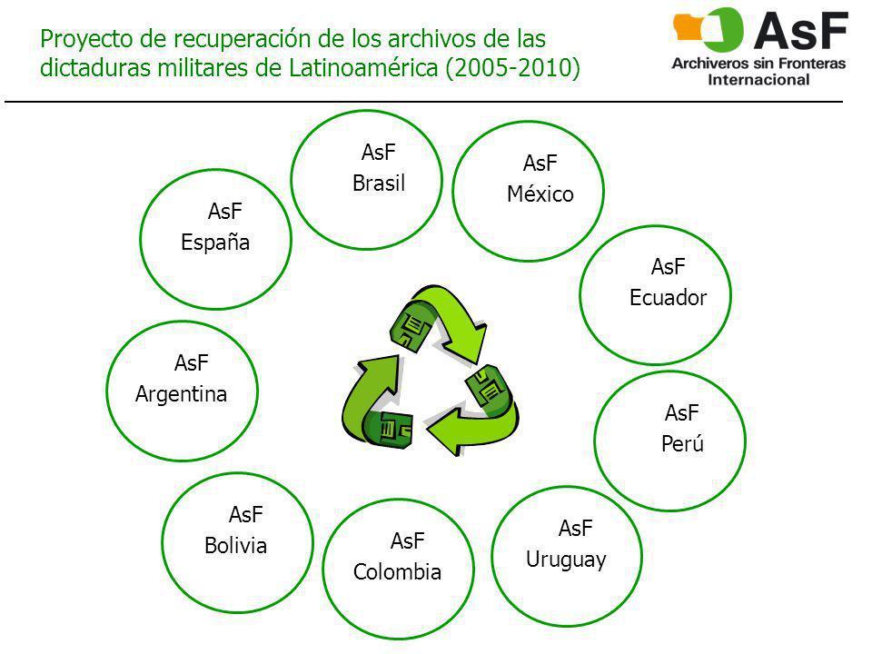 Proyecto de recuperación de los archivos de las dictaduras militares de Latinoamérica (2005-2010) AsF España AsF Argentina AsF Bolivia AsF Colombia AsF Uruguay AsF Perú AsF Brasil AsF México AsF Ecuador