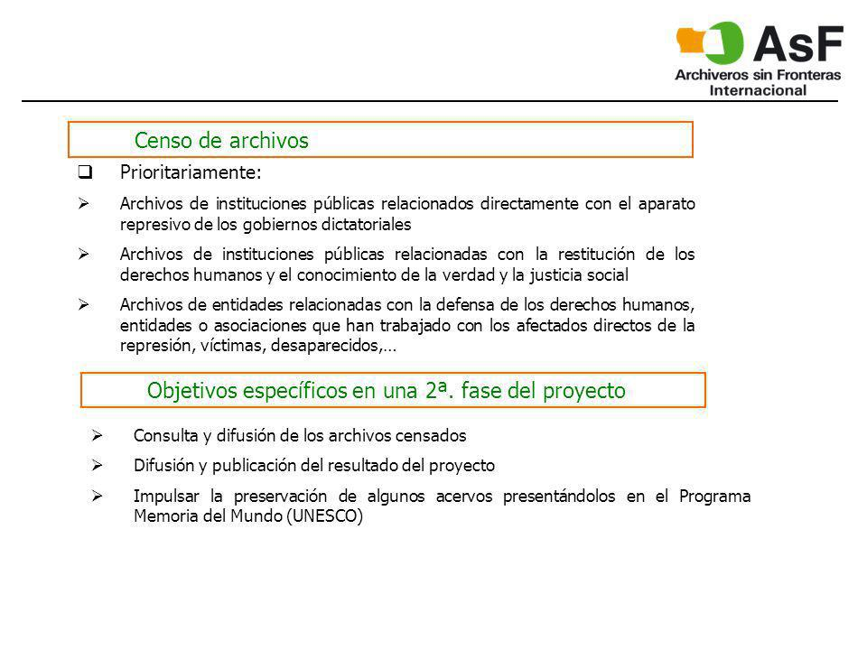 Censo de archivos Prioritariamente: Archivos de instituciones públicas relacionados directamente con el aparato represivo de los gobiernos dictatorial