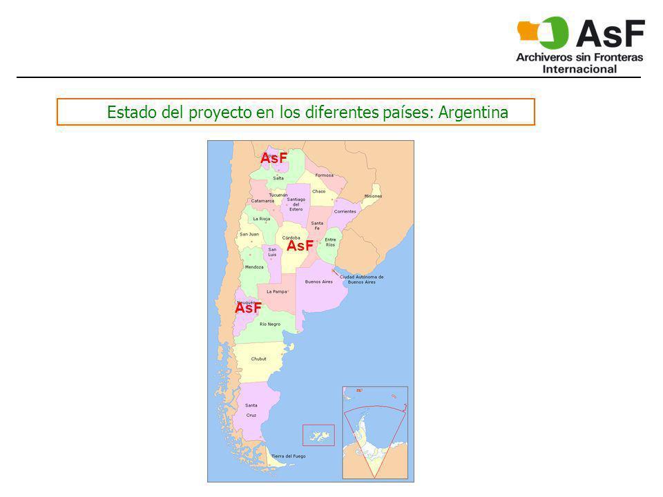 Estado del proyecto en los diferentes países: Argentina AsF