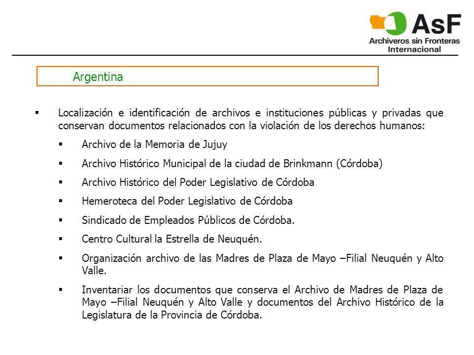 Argentina Localización e identificación de archivos e instituciones públicas y privadas que conservan documentos relacionados con la violación de los