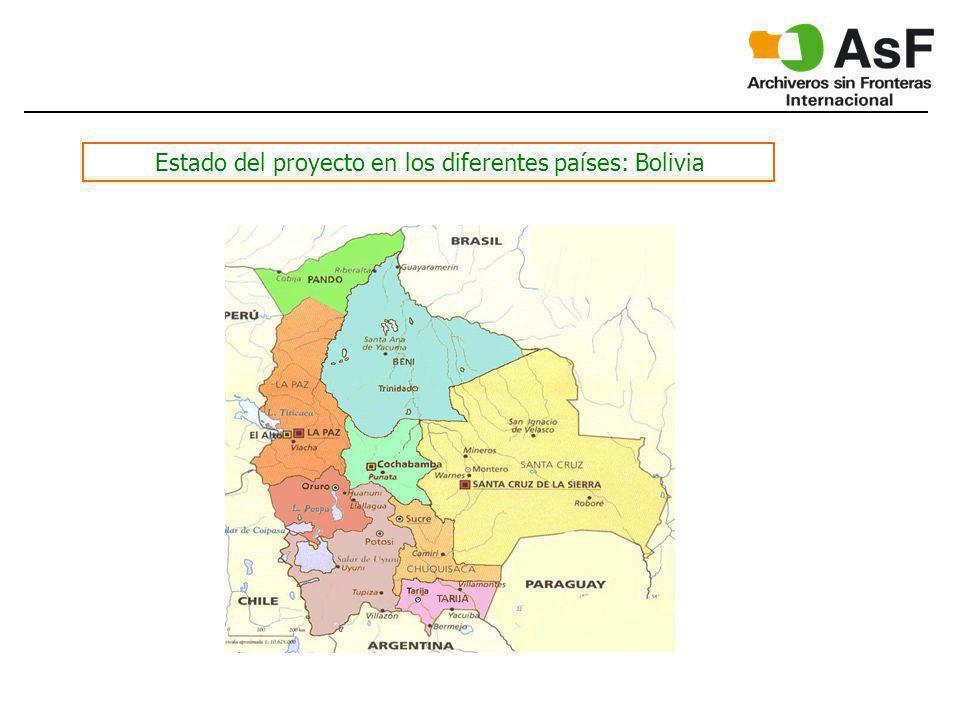 Estado del proyecto en los diferentes países: Bolivia