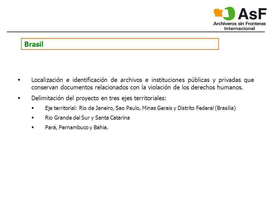 Brasil Localización e identificación de archivos e instituciones públicas y privadas que conservan documentos relacionados con la violación de los derechos humanos.