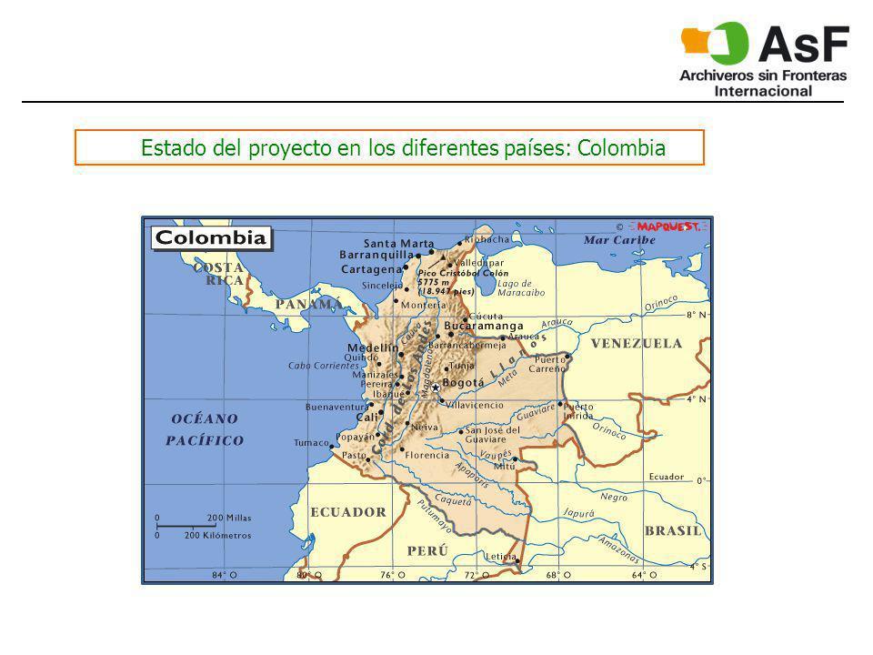 Estado del proyecto en los diferentes países: Colombia