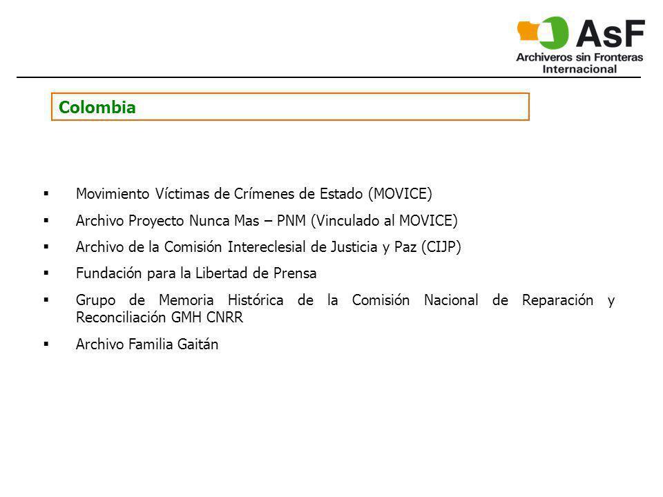 Colombia Movimiento Víctimas de Crímenes de Estado (MOVICE) Archivo Proyecto Nunca Mas – PNM (Vinculado al MOVICE) Archivo de la Comisión Intereclesia