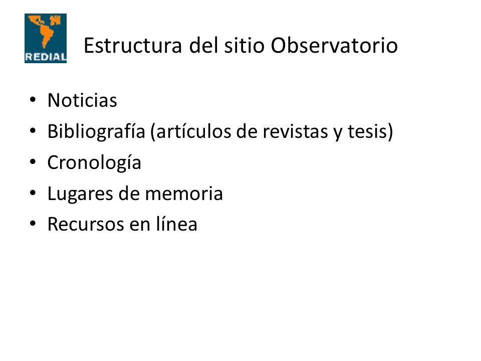 Estructura del sitio Observatorio Noticias Bibliografía (artículos de revistas y tesis) Cronología Lugares de memoria Recursos en línea