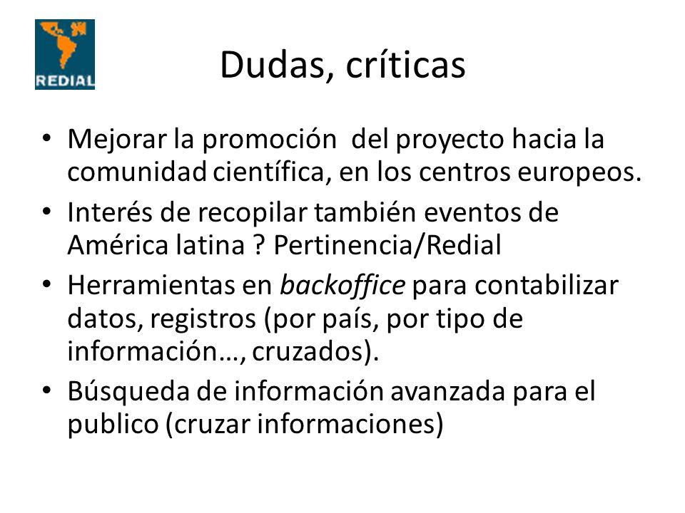Dudas, críticas Mejorar la promoción del proyecto hacia la comunidad científica, en los centros europeos. Interés de recopilar también eventos de Amér