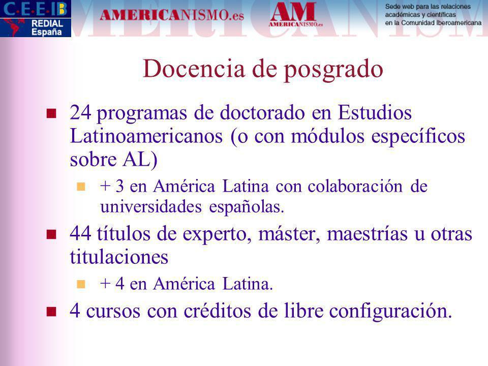 Docencia de posgrado 24 programas de doctorado en Estudios Latinoamericanos (o con módulos específicos sobre AL) + 3 en América Latina con colaboración de universidades españolas.