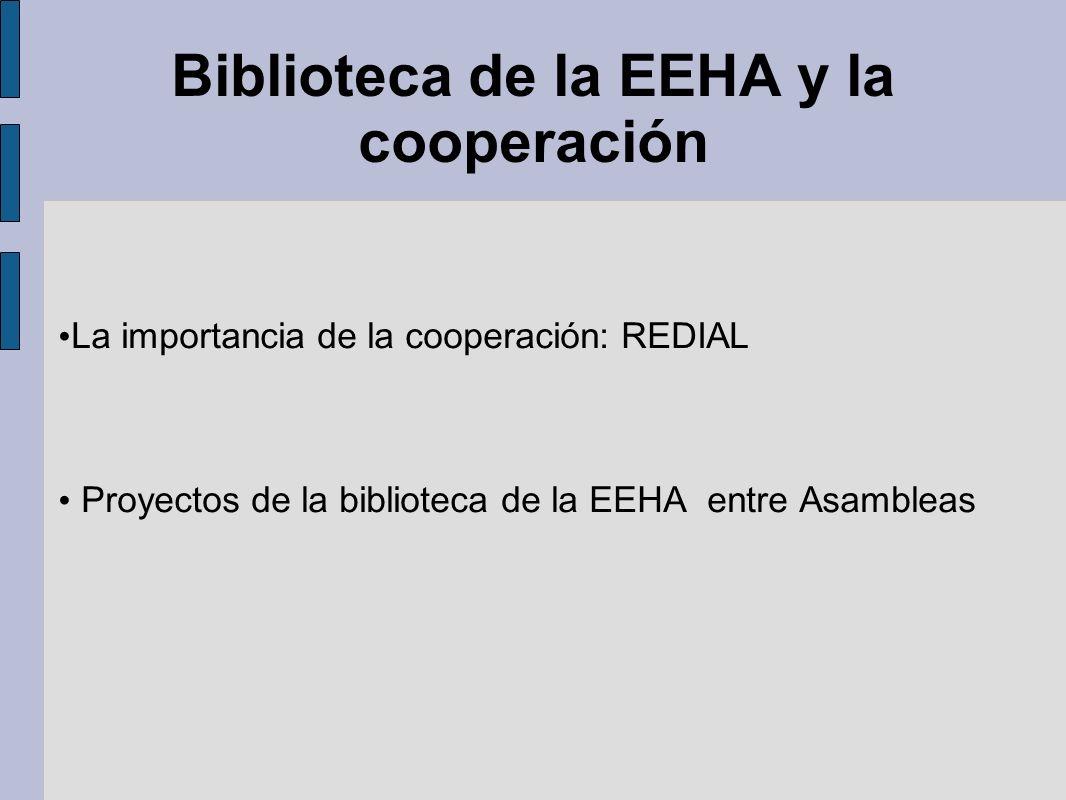 Biblioteca de la EEHA y la cooperación La importancia de la cooperación: REDIAL Proyectos de la biblioteca de la EEHA entre Asambleas