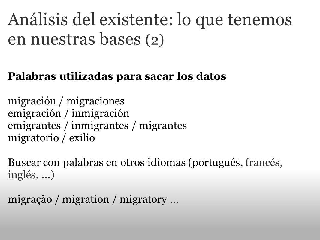 Análisis del existente: lo que tenemos en nuestras bases (2) Palabras utilizadas para sacar los datos migración / migraciones emigración / inmigración