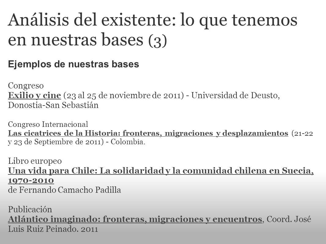 Análisis del existente: lo que tenemos en nuestras bases (3) Ejemplos de nuestras bases Congreso Exilio y cine (23 al 25 de noviembre de 2011) - Unive