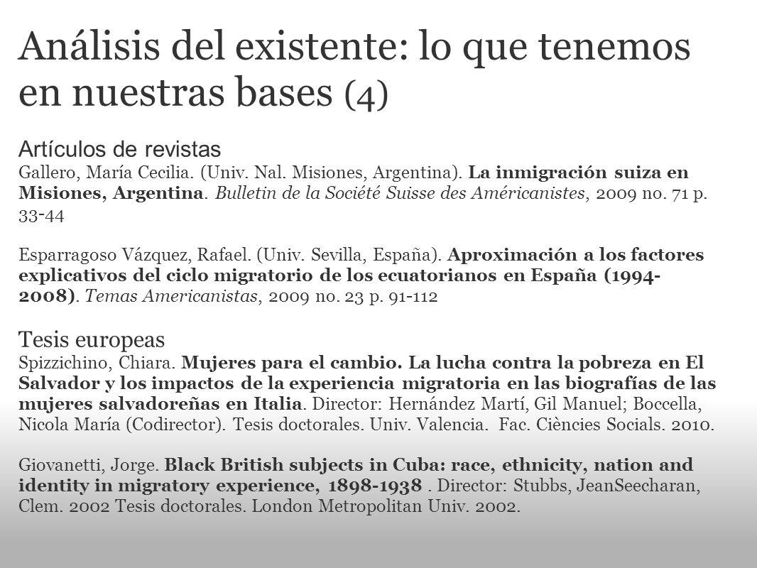 Análisis del existente: lo que tenemos en nuestras bases (4) Artículos de revistas Gallero, María Cecilia. (Univ. Nal. Misiones, Argentina). La inmigr
