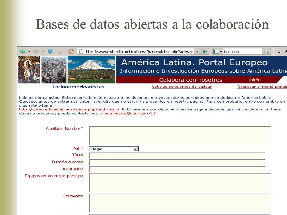 Bases de datos abiertas a la colaboración