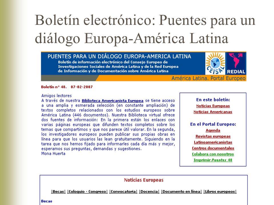Boletín electrónico: Puentes para un diálogo Europa-América Latina