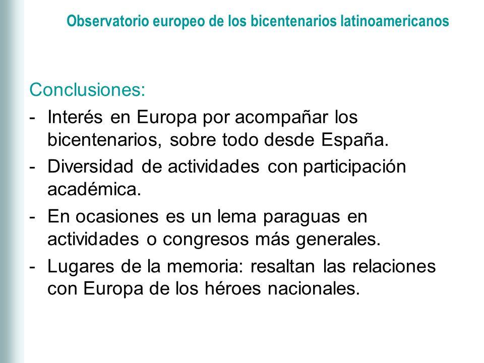 Observatorio europeo de los bicentenarios latinoamericanos Conclusiones: -Interés en Europa por acompañar los bicentenarios, sobre todo desde España.