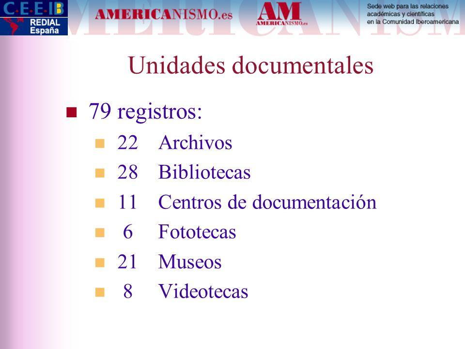 Unidades documentales 79 registros: 22 Archivos 28 Bibliotecas 11 Centros de documentación 6 Fototecas 21 Museos 8 Videotecas