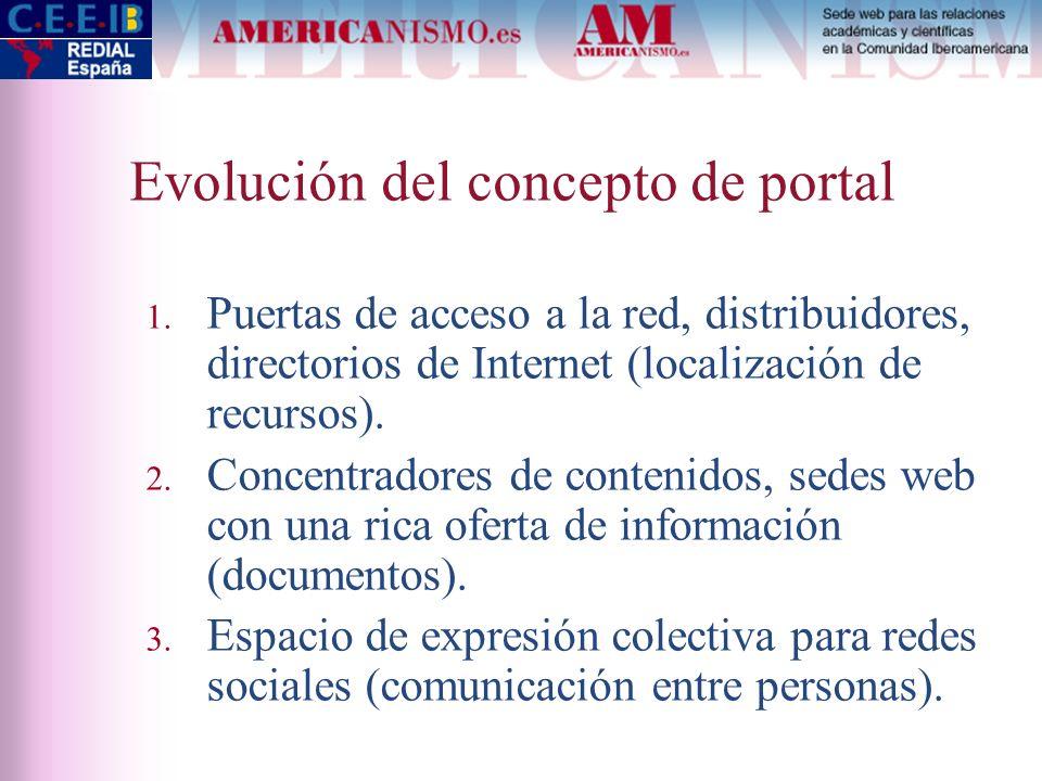 Evolución del concepto de portal 1. Puertas de acceso a la red, distribuidores, directorios de Internet (localización de recursos). 2. Concentradores