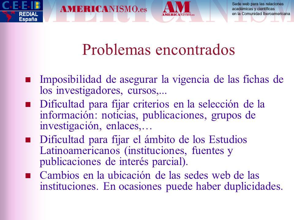 Problemas encontrados Imposibilidad de asegurar la vigencia de las fichas de los investigadores, cursos,... Dificultad para fijar criterios en la sele