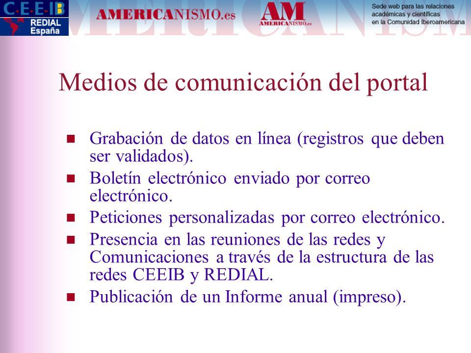 Medios de comunicación del portal Grabación de datos en línea (registros que deben ser validados). Boletín electrónico enviado por correo electrónico.