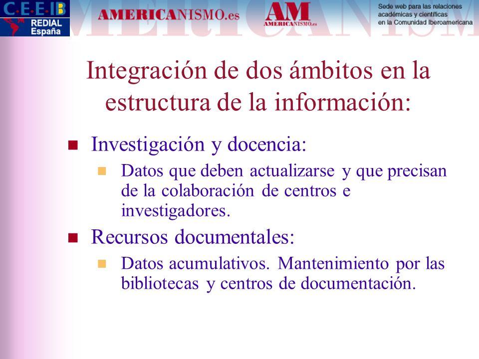 Integración de dos ámbitos en la estructura de la información: Investigación y docencia: Datos que deben actualizarse y que precisan de la colaboració