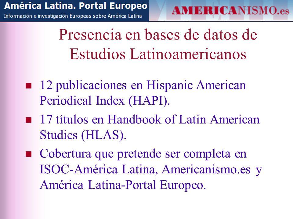 Presencia en bases de datos de Estudios Latinoamericanos 12 publicaciones en Hispanic American Periodical Index (HAPI).