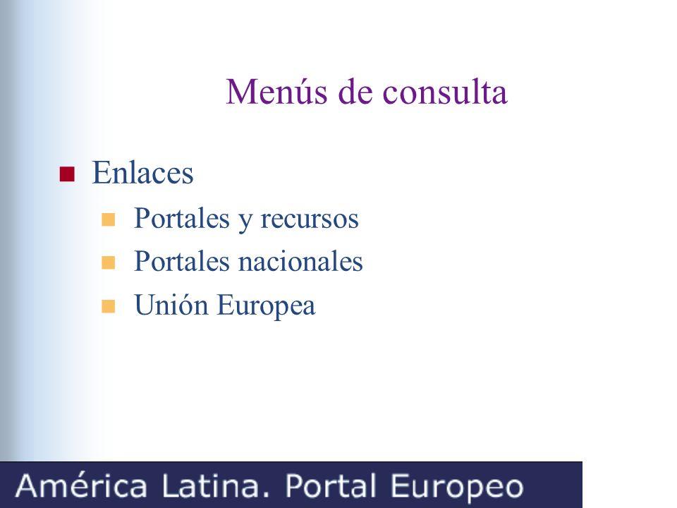 Menús de consulta Enlaces Portales y recursos Portales nacionales Unión Europea