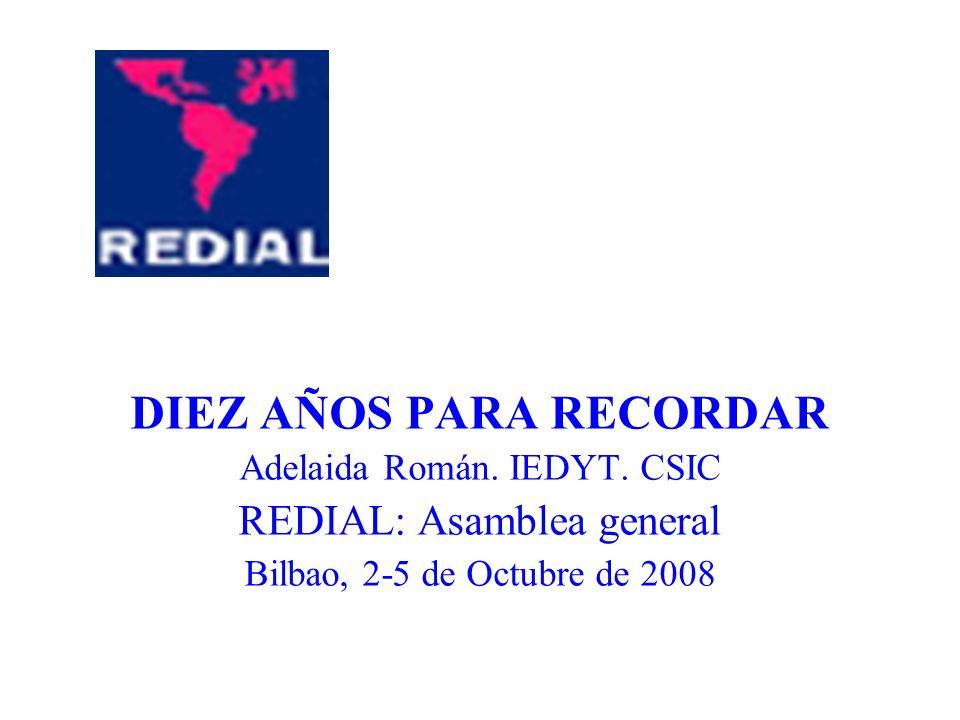 DIEZ AÑOS PARA RECORDAR Adelaida Román. IEDYT. CSIC REDIAL: Asamblea general Bilbao, 2-5 de Octubre de 2008
