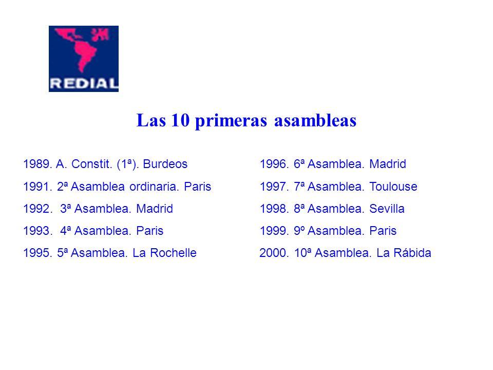 Las 10 primeras asambleas 1989. A. Constit. (1ª). Burdeos 1991. 2ª Asamblea ordinaria. Paris 1992. 3ª Asamblea. Madrid 1993. 4ª Asamblea. Paris 1995.