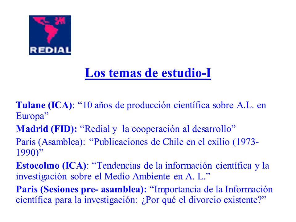 Los temas de estudio-I Tulane (ICA): 10 años de producción científica sobre A.L. en Europa Madrid (FID): Redial y la cooperación al desarrollo Paris (