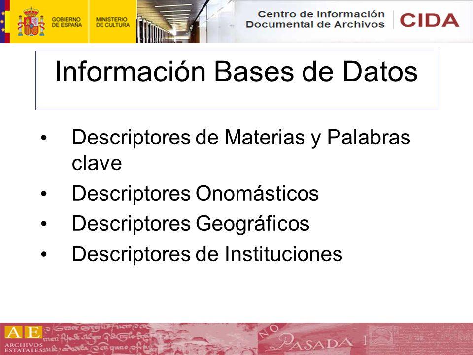 Información Bases de Datos Descriptores de Materias y Palabras clave Descriptores Onomásticos Descriptores Geográficos Descriptores de Instituciones
