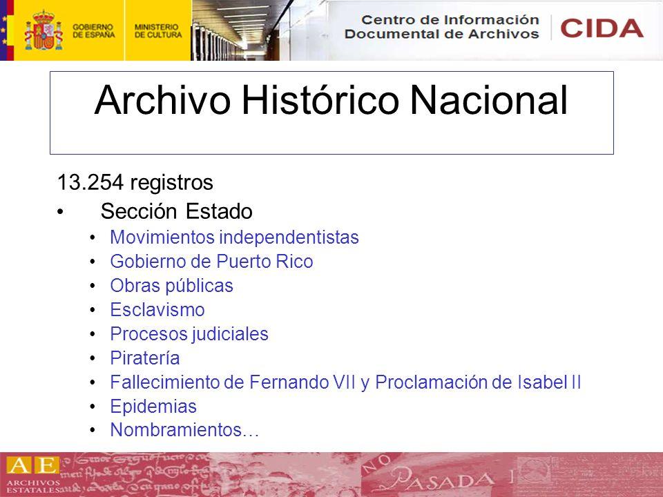 Archivo Histórico Nacional 13.254 registros Sección Estado Movimientos independentistas Gobierno de Puerto Rico Obras públicas Esclavismo Procesos jud
