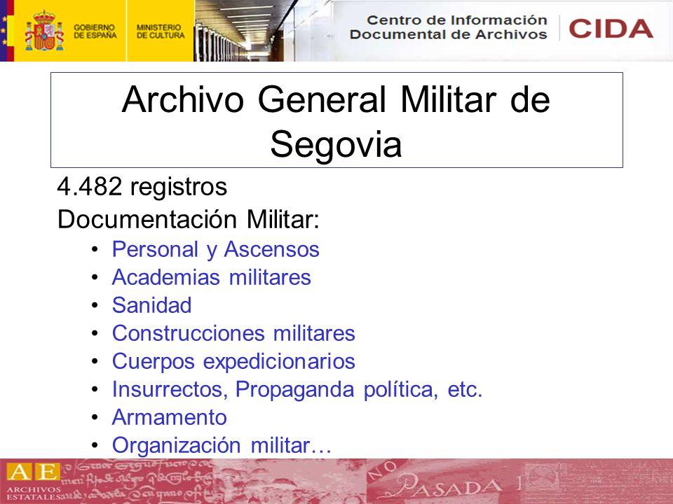 Archivo General Militar de Segovia 4.482 registros Documentación Militar: Personal y Ascensos Academias militares Sanidad Construcciones militares Cue