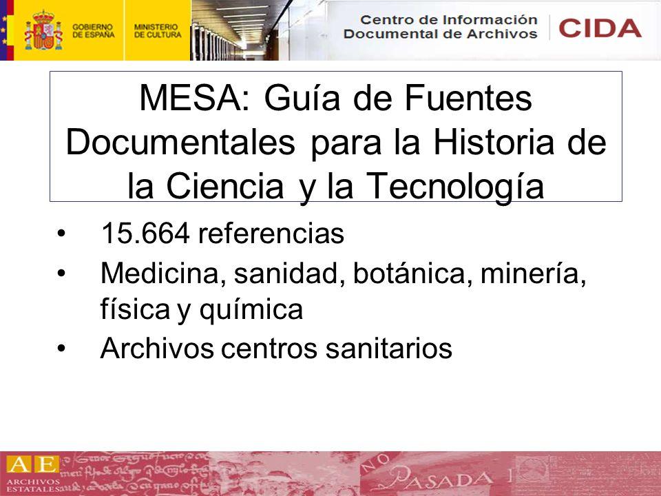 MESA: Guía de Fuentes Documentales para la Historia de la Ciencia y la Tecnología 15.664 referencias Medicina, sanidad, botánica, minería, física y qu