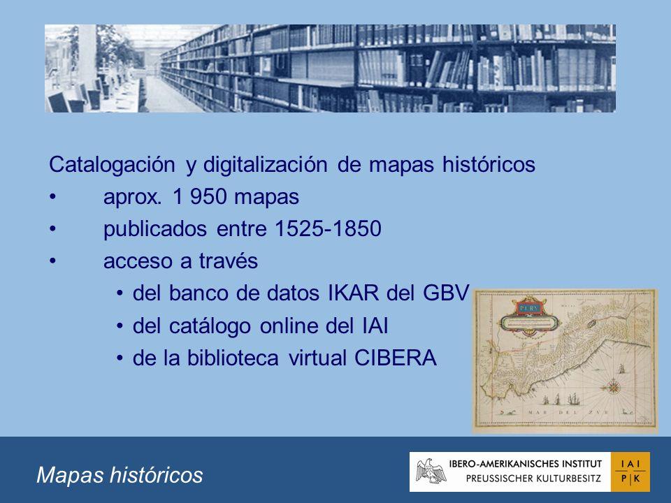 Catalogación y digitalización de mapas históricos aprox.