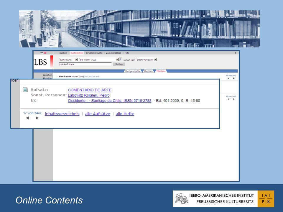 Table of Contents (TOC) Índices de monografías Enlace a la imagen digital (formato pdf) Posibilidad de buscar en los textos completos de los índices Portadas informativas Imágenes digitales al lado de las fichas bibliográficas Table of Contents