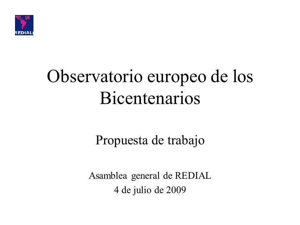 Sitios dedicados (por lo menos en parte) a los Bicentenarios en Europa: –Real Instituto Elcano: http://www.realinstitutoelcano.org/wps/portal/EspecialesElcano/ObservatorioBi centenarios/AmericaLatina -Fundación Mapfre: http://www.mapfre.com/fundacion/es/publicaciones/cultura/historia/bicentenari os.shtml -Fundación Gustavo Bueno: http://www.bicentenarios.es/ Informaciones de diferentes tipos : actualidad académica y cultural ; rúbricas de contenido ; publicaciones...