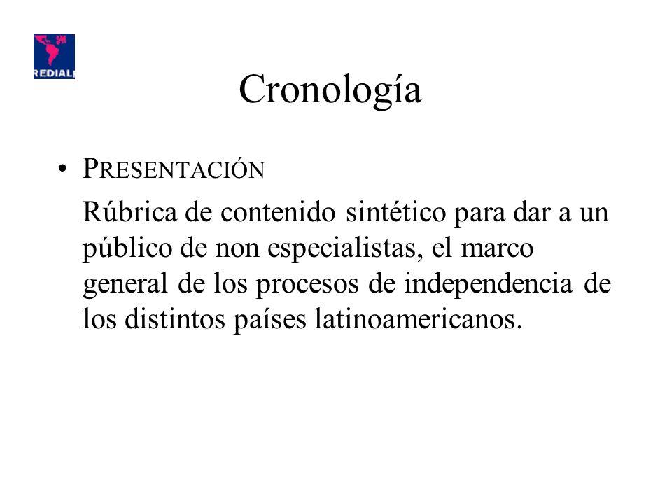 Cronología P RESENTACIÓN Rúbrica de contenido sintético para dar a un público de non especialistas, el marco general de los procesos de independencia de los distintos países latinoamericanos.