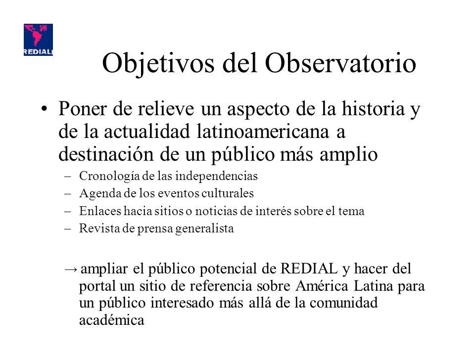 Objetivos del Observatorio Producir información: –Información general (trabajo de síntesis) Cronología de las independencias –El Observatorio como futuro objeto de investigación ¿Cuál es la información producida (o no) sobre los bicentenarios.