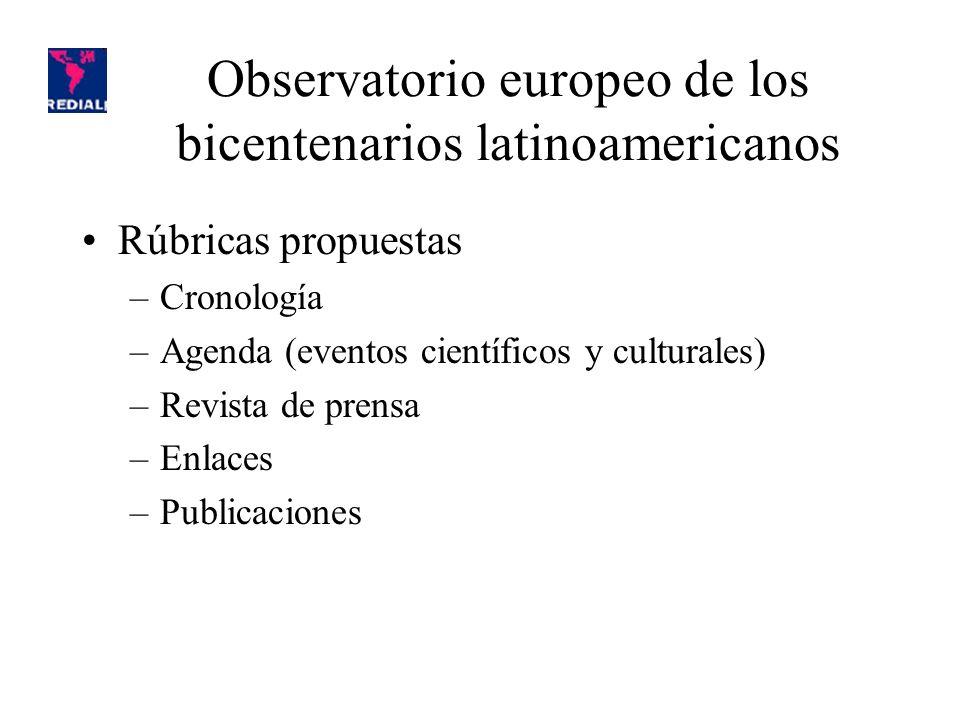 Rúbricas propuestas –Cronología –Agenda (eventos científicos y culturales) –Revista de prensa –Enlaces –Publicaciones Observatorio europeo de los bicentenarios latinoamericanos