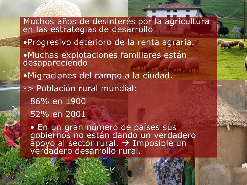 Muchos años de desinterés por la agricultura en las estrategias de desarrollo Progresivo deterioro de la renta agraria.