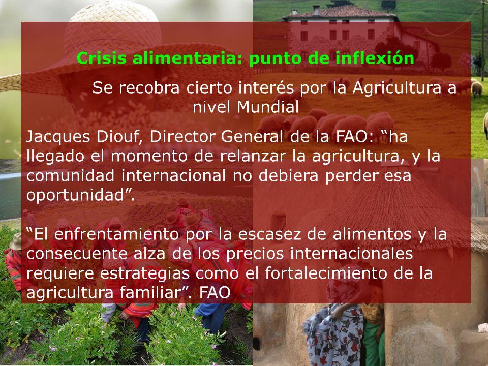 Crisis alimentaria: punto de inflexión Se recobra cierto interés por la Agricultura a nivel Mundial Jacques Diouf, Director General de la FAO: ha llegado el momento de relanzar la agricultura, y la comunidad internacional no debiera perder esa oportunidad.