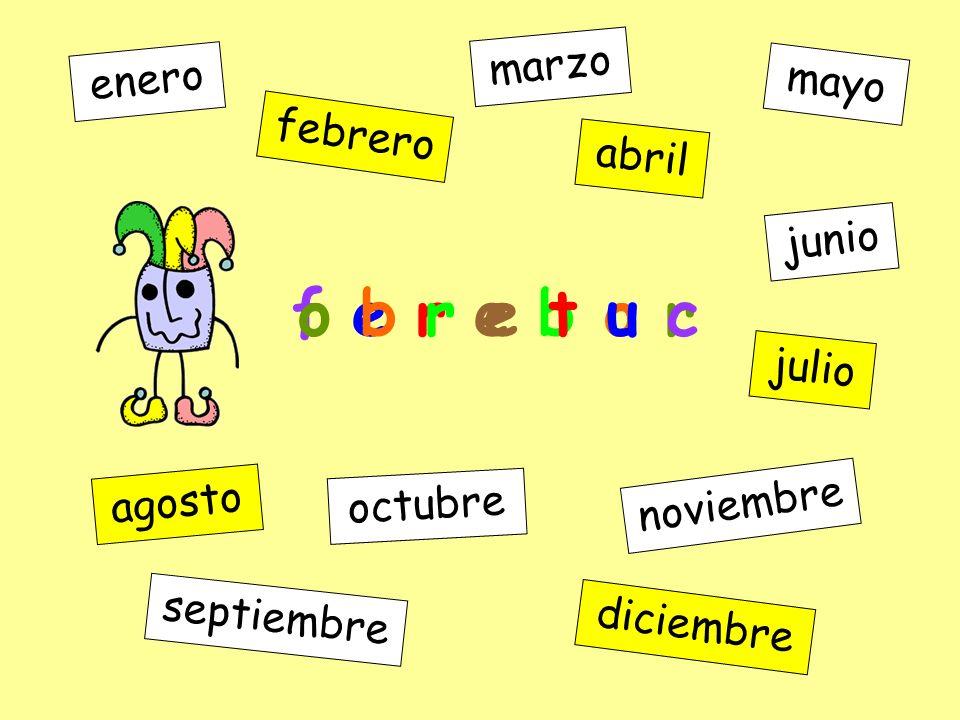 i c e r m b i d e enero febrero marzo abril mayo junio julio agosto septiembre octubre noviembre diciembre f e r e b o r