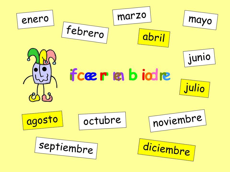 u j l o i enero febrero marzo abril mayo junio julio agosto septiembre octubre noviembre diciembre i c e r m b i d e
