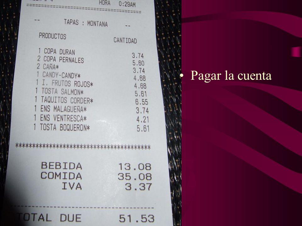 Pagar la cuenta